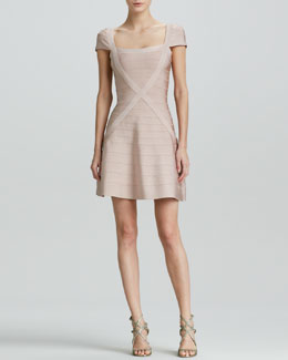 Herve Leger X-Front Bandage Dress with Flared Skirt
