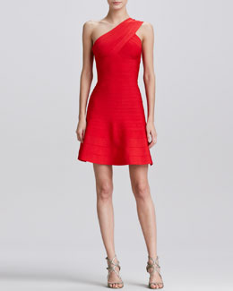 Herve Leger One-Shoulder Skirted Dress