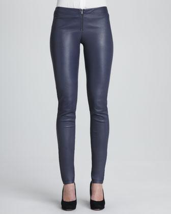 Leather Zip-Front Leggings, Navy