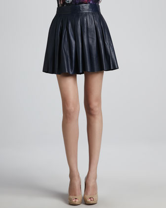 Marilla Bead-Collar Top & Pleated Leather Skirt