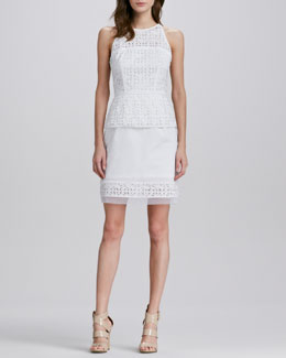 Milly Mia Eyelet Peplum Dress