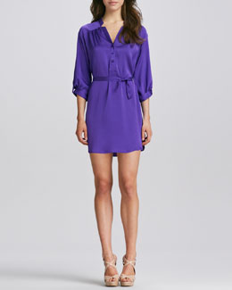 Milly Stella Satin Tie-Waist Shirtdress
