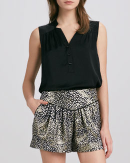 Milly Camila Stretch-Silk Blouse