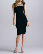 RED Valentino Jersey Point d'Esprit Dress, Black