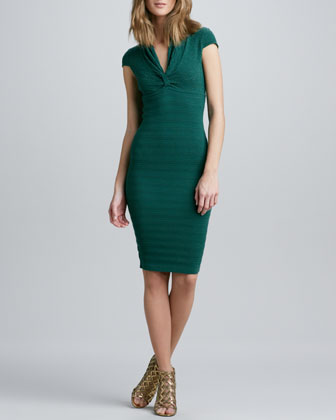 Pointelle-Knit Cap-Sleeve Dress