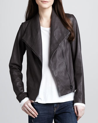 Asymmetric Leather Jacket, Long-Sleeve Slub Tee & Distressed Cuffed Relaxed Jeans