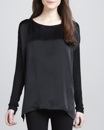 Loose Mix-Fabric Top, Black