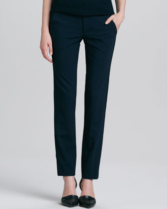 Fitted Stretch-Wool Tuxedo Pants