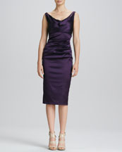 Talbot Runhof Ruched Satin Cocktail Dress