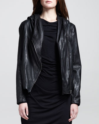 Hooded Leather Zip Jacket