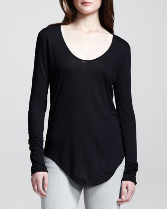 Long-Sleeve Double-Shirttail Tee, Black