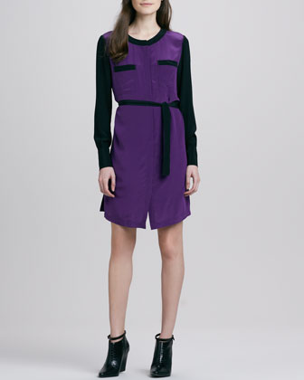 Colorblock Tie-Waist Shirtdress