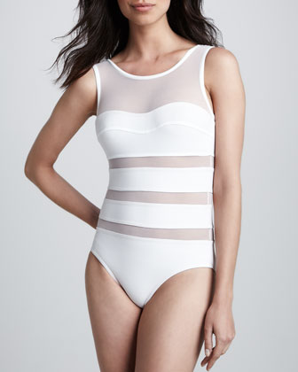 One-Piece Swimsuit with Mesh Inserts