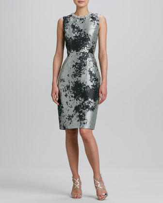 Jeweled Jewel-Neck Jacquard Dress