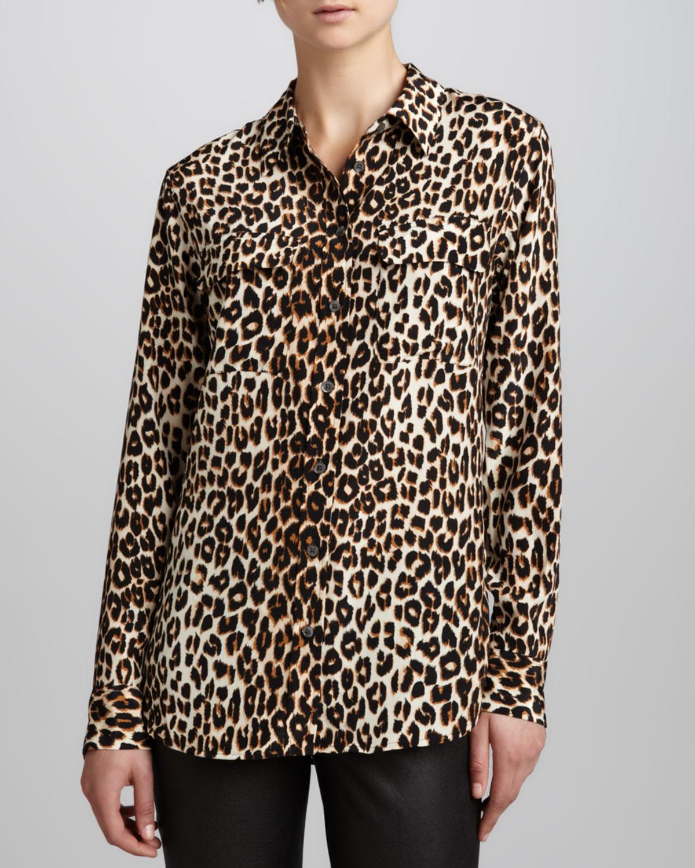 Equipment Signature Leopard-Print Slim Blouse, Size: M, Natural