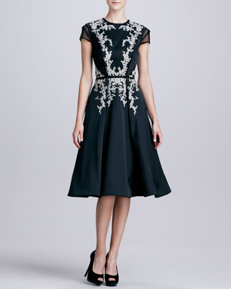 Embroidered Sheer-Sleeve Party Dress