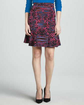 Intarsia Fit-and-Flare Skirt