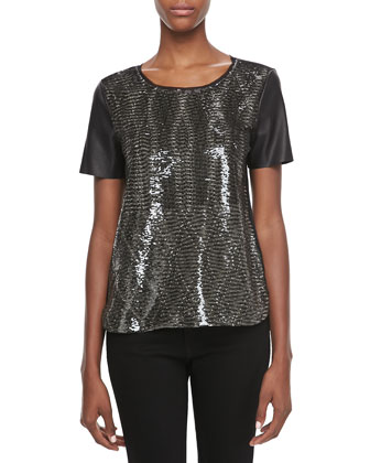 Enza Sequined Boxy Blouse