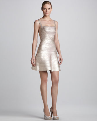 Shimmery Bandage-Knit Bolero & Flared Bandage Dress