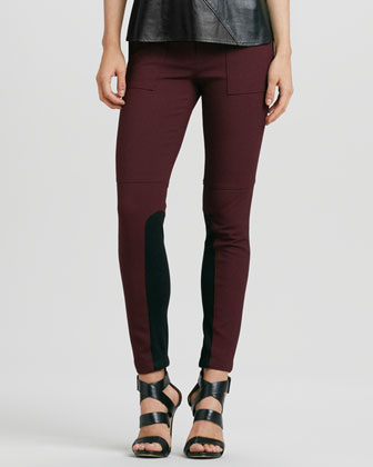 Stretch Skinny Ribbed-Panel Riding Pants