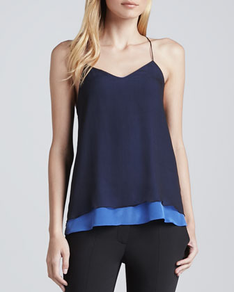 Sleeveless V-Neck Silk Cami