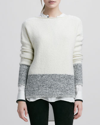 Boat-Neck Sweater, Natural/Black