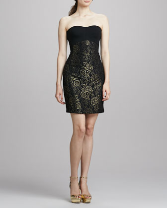 Garland Strapless Metallic Dress