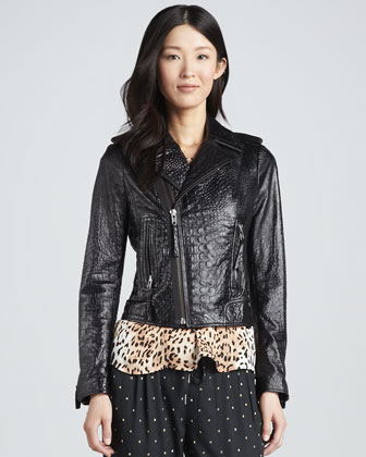 Crocodile-Embossed Motorcycle Jacket