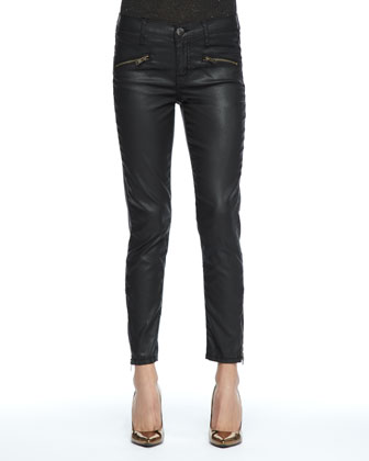 Soho Coated-Denim Stiletto Pants, Black