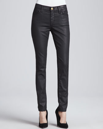 The Ankle Skinny Coated Jeans, Black