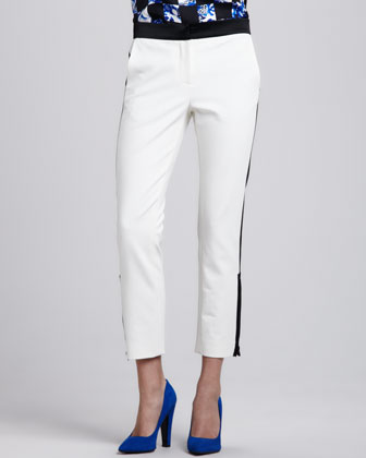 Colorblock Zipper-Cuff Cropped Pants