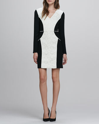 Embroidered Jacquard V-Neck Dress