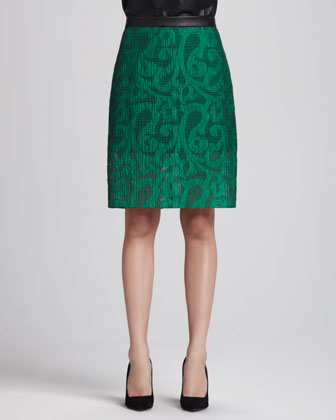V-Neck Leather Cami & Damask Jacquard Pencil Skirt