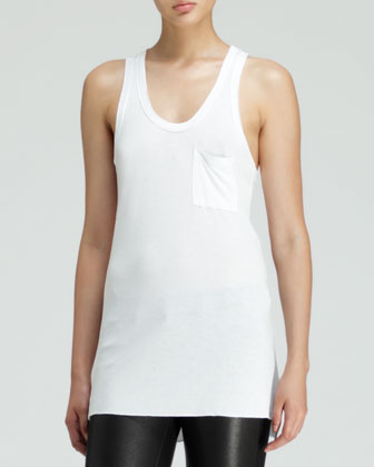 Sleeveless Slub Pocket Tank, White