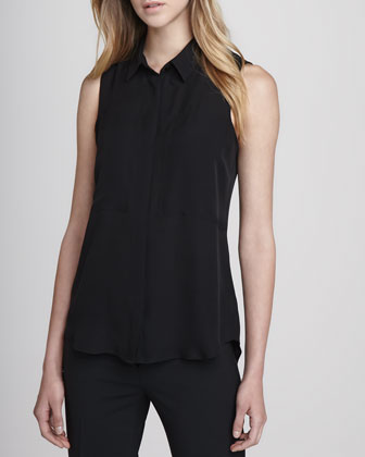 Duria Sleeveless Silk Blouse, Black