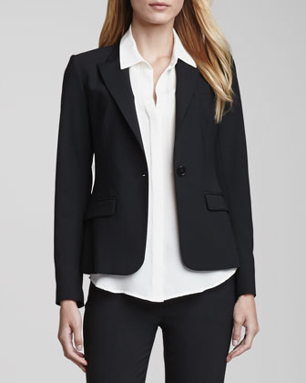 Gabe One-Button Jacket, Duria Sleeveless Silk Blouse & Max Urban Trousers