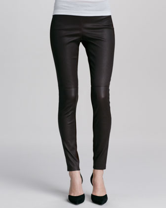 Ribbed Drape-Collar Cardigan, Sheer Silk Tank & Contrast Leather/Suede Leggings