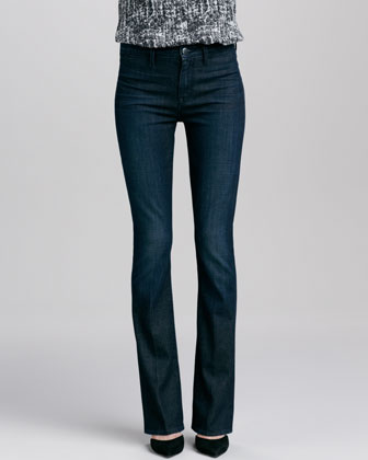Cap-Sleeve Contrast Placket Silk Blouse & Taylor High-Rise Boot-Cut Jeans