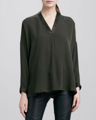 Satin-V-Placket Silk Blouse, Military Green