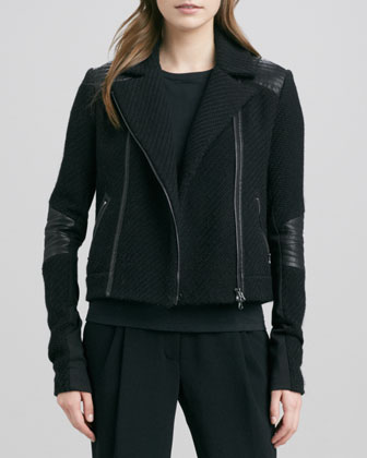 Boucle Moto Jacket, Short-Leather-Sleeve Tee & Stretch Wool Harem Pants