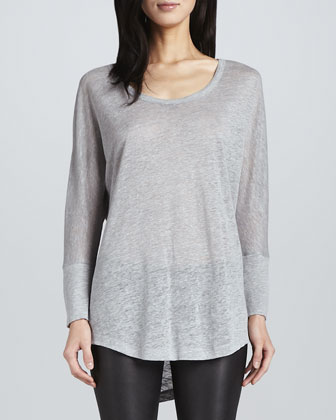 Wendi Boucle Cardigan, Ashlee Long-Sleeve T-Shirt & Alverine Stretch Leather Leggings