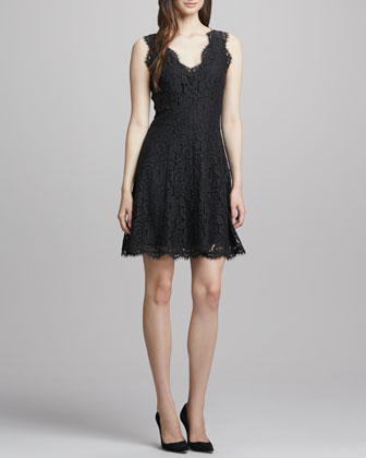 Nikolina Fringe-Trim Lace Dress