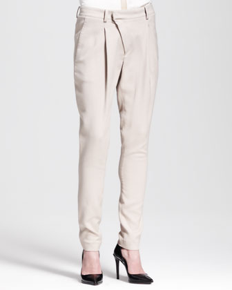 Asymmetric Pleat-Front Pants