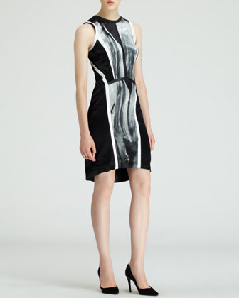 Sleeveless Silver-Print Dress