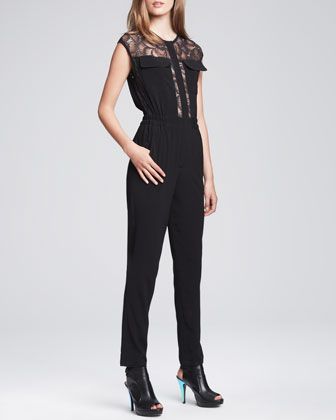 Sonata Sheer-Top Jumpsuit