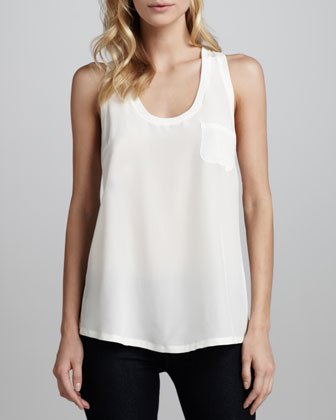 Alicia Racerback Pocket Tank, Porcelain