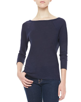 Cyndi Long-Sleeve Slub Top