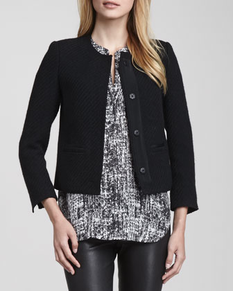 Grosgrain-Trim Boucle Jacket, Black