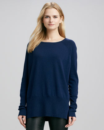 Cashmere Square-Neck Sweater, Royale
