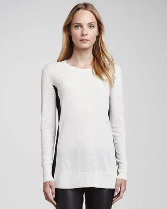 Bicolor Crewneck Cashmere Sweater, White/Coastal